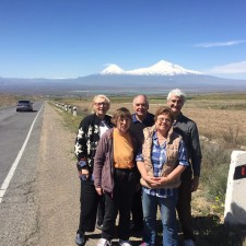 Flame team with Mount Ararat in background